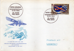 B - Svizzera 1963 - Volo Berna - Locarno - Posta Aerea