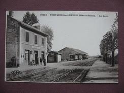 CPA 70 FONTAINE LES LUXEUIL La Gare SEPIA ANIMEE CHEMINOTS EMPLOYES SNCF  Canton SAINT LOUP SUR SEMOUSE - Autres Communes