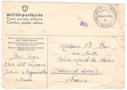 Carte Postale Militaire Suisse - Envoi D'un Soldat Français Interné En Suisse Au Camp De Dagmersellen - 1940 - Documents