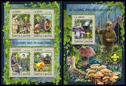 SIERRA LEONE 2016 - Scouting & Mushrooms, M/S + S/S. Official Issue. - Paddestoelen