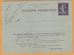 Fr12 Entier Postal Pneumatique  K17. 30c Seumeuse ** Verso=42 Villes + Dimanche Jours Fériés.