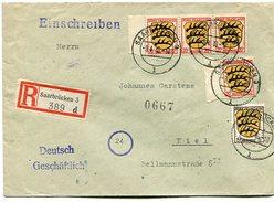 VR 8 Sarre Saar   Lettre Recommandée De Saarbrücken 3 Affranchissement Zone Française Du 8.4.46 - Lettres & Documents