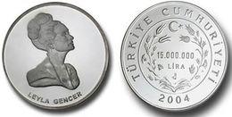 AC - LEYLA GENCER TURKISH SOPRANO COMMEMORATIVE SILVER COIN PROOF - UNCIRCULATED 2004, TURKEY - Munten & Bankbiljetten
