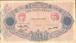FRANCE 500 FRANCS Du 27-04-1933 Bleu Et Rose  Pick 66m  F 30/36 - 1871-1952 Anciens Francs Circulés Au XXème