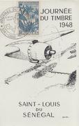 Carte  Locale  A.O.F   Journée  Du  Timbre   SAINT   LOUIS   Du   SENEGAL   1948