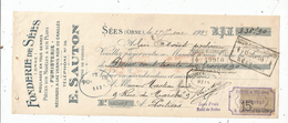 Mandat , Fonderie De SEES , Orne , Fumisterie , E. Sauton , Maitre De Forges , 1923 , Timbrée, 2 Scans - 1900 – 1949