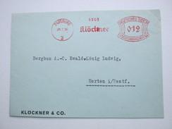 Firmen Freistempel , Meterstempel Auf Beleg Aus   DUISBURG  RUHRORT 1936, Etwas Verkürzt - Deutschland
