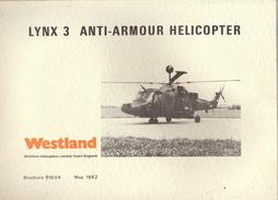 Catalogue Brochure Officiel WESTLAND Hélicoptère Militaire Le Lynx 3  Anti Tank 1982 - Aviation