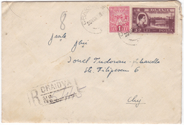 #7173 Romania Registered Letter Mailed 1948 RPR Mixed Franking- Revenue Stamp IOVR+King Mihai Overprint, Canvass Pmk (1) - 1948-.... Républiques