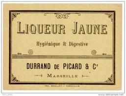 Etiquette Ancienne Liqueur Jaune, Durrand De Picard & Cie, Marseille