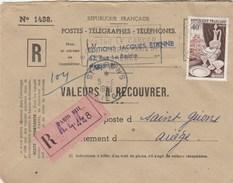 Yvert 972 Porcelaine Sur Lettre Recommandée Valeurs Recouvrer PARIS VIII - 1/6/ 1956 - France