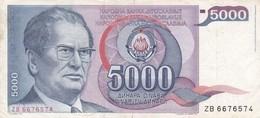 JUGOSLAVIA  5000 DINARA  1985  BANCONOTA CIRCOLATA - Jugoslawien
