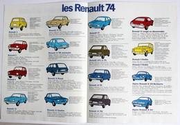 Publicité 1974 LES RENAULT 74 R4 R5 R6 R12 Gordini R4 Rodéo Alpine Renault - Automobili