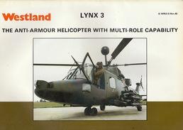 Catalogue Brochure Officiel WESTLAND Hélicoptère Militaire Lynx 3  1982 - Aviation