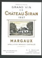 étiquette Vin  Grand Vin De Chateau  Siran  Margaux 1937 - Bordeaux