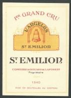 étiquette Vin   1er Grand Cru L'Angelus St Emillion 1940  Contesse De Bouard De Laforest Propriétaire - Bordeaux