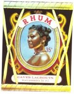 """étiquette  Ancienne  Rhum  Caves Lacrouts  Navarenx Basses Pyrennées  """"visage Femme Bijoux """" - Rhum"""