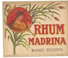 """étiquette  Ancienne  Rhum  Madrina Marque Exclusive  """"femme Chapeau  Canne""""  Imp L Plouviez Et Fils  1920 - Rhum"""