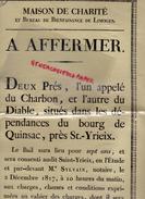 87 -SAINT YRIEIX LA PERCHE- AFFICHE PARCHEMIN MAISON CHARITE LIMOGES- A AFFERMER 2 PRES DU CHARBON ET DU DIABLE-QUINSAC - Afiches