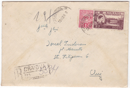 #7174 Romania Registered Letter Mailed 1948 RPR Mixed Franking- Revenue Stamp IOVR+King Mihai Overprint, Canvass Pmk (2) - 1948-.... Républiques
