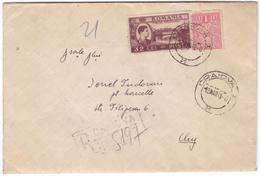 #7175 Romania Registered Letter Mailed 1948 RPR Mixed Franking- Revenue Stamp IOVR+King Mihai Overprint, Canvass Pmk (3) - 1948-.... Républiques