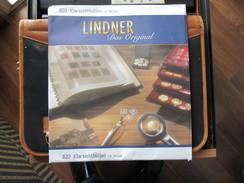 STAMP LINDNER COLLECTOR ALBUM ONE POCKET CLEAR PLASTIC COVER BLACK BACKGROUND 240X 290mm PAGES 820 KLARSICHTHULLEN - Albums & Binders
