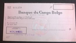 """Vieux Chèque De La """" BANQUE DU CONGO-BELGE"""". Colonisation Belge Du Congo.Payable à Kolwezi.Année 1960. - Cheques En Traveller's Cheques"""