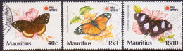 MAURITIUS 1991 SG #855//58 Part Set Only 3R Missing Used Phila Nippon '91 Butterflies - Mauritius (1968-...)