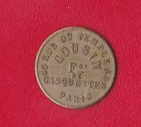 JETON  *COUSIN* 45 RUE DU TEMPLE 45 - PARIS  // FOURNITURES DE CASQUETTES, VISIERES ET CALOTTES EN TOUS GENRES - Professionali / Di Società