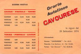 "05439  ""(TO) CAVOUR - ORARIO AUTOLINEE CAVOURESE 1974"" ORARIO DA CAVOUR-PINEROLO-TORINO - Europa"