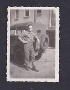 Photo Originale Militaire Souvenir De Rastatt 1949 Genealogie Charles Goetsch Jeep Willys - Guerre, Militaire