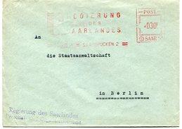 VR 23 Sarre Saar  Lettre Regierung Des Saarlandes Oblitération Mécanique 1.6.51 - Lettres & Documents