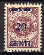 Memel (Klaipeda) 1923 Mi 171 A II * [280117L] - Memelgebiet
