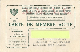 CARTE DE MEMBRE ACTIF -ASS. DEPARTEMENTALE DES MUTILES & ANCIENS COMBATTANTS DE LA GRANDE GUERRE... HYERES 83 1939 - Kaarten