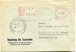 VR 28 Sarre Saar  Lettre Regierung Des Saarlandes  Oblitération Mécanique 23.5.53 - Lettres & Documents