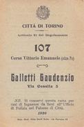 """05446 """"TORINO - VETTURALE GALLETTI GAUDENZIO - REGOLAMENTO TARIFFA A TASSAMETRO PER LE VETTURE PUBBLICHE A CAVALLI-1920"""" - Italia"""