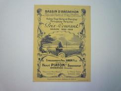 BASSIN  D'ARCACHON  :  CARTON PUB   HUÎTRES  Saison  1932 - 1933  Henri PIATON   - Advertising