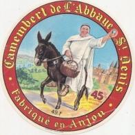 étiquette Fromage - CAMEMBERT  De L'abbaye Saint Denis - Anjou PLIS - Quesos