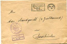 """VR 37 Sarre Saar  Lettre En Franchise 19.3.35 Avec Flamme Illustrée """"Deutsch Ist Die Saar"""" - Lettres & Documents"""