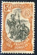 Costa Dei Somali 1903 N. 66 F. 5 Rosso-arancio MNH Cat. € 48 - French Somali Coast (1894-1967)