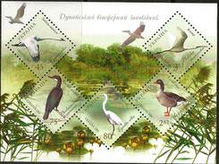 Oiseaux De La Reserve Naturelle Du Danube (Cygnes,Aigrette,Spatule,oies,etc) Bloc-feuillet Neuf **