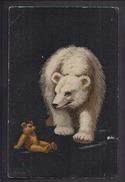 CPA FANTAISIE ILLUSTRATEUR (signature En Bas à Gauche) - OURS EN PELUCHE MARRON ET OURS POLAIRE BLANC - Bären