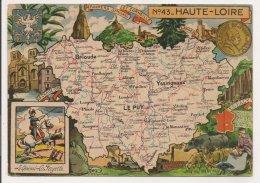 L20E004 - Haute Loire - Carte Géographique Du Département  - Blason -  J.P.Pinchon - Blondel Et Rougery N°43 - FM - Francia