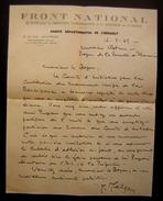 1945 Lettre Du Front National De Lutte Pour La Libération L Indépendance Et La Grandeur De La France :Mélizan (Hérault) - Documents Historiques