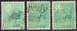 GB Yv. N°1027 à 1029 - 12p1/2 Vert Clair Emissions Régionales - Oblitéré - Machins