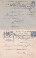 2 Lettres En-tête SPIRITUEUX -  VINS  - Affrt SAGE + Obl ARLANC PUY DE DÔME Pour Ambert - Vinos Y Alcoholes