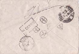 Cachet REBUTS MARSEILLE 31/1/10 + 4 Cachets De Facteurs De GEOMETRIES DIFFERENTES + INCONNU Au Dos Lettre - Postmark Collection (Covers)