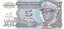 ZAIRE  5 MAKUTA 1993    FDS - Zaire