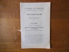 CHAMBRE DE COMMERCE DE SAINT-QUENTIN ET DE L'AISNE SEANCE DU JEUDI 23 AOUT 1928 CONSTRUCTION D'HABITATIONS A BON MARCHE - Documenti Storici