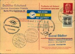 1959, Doppel-Ganzsachenkarte 15 Pfg. Pieck Mit 5 Pfg. Flugpost Ab BERLIN Nach Kopenhagen. Michel 100,- - DDR